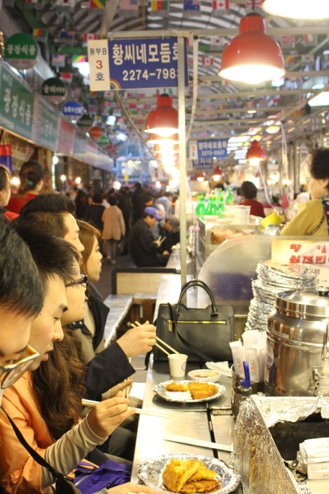 gwangjang market seoul south korea food bindaetteok travel vegetarian