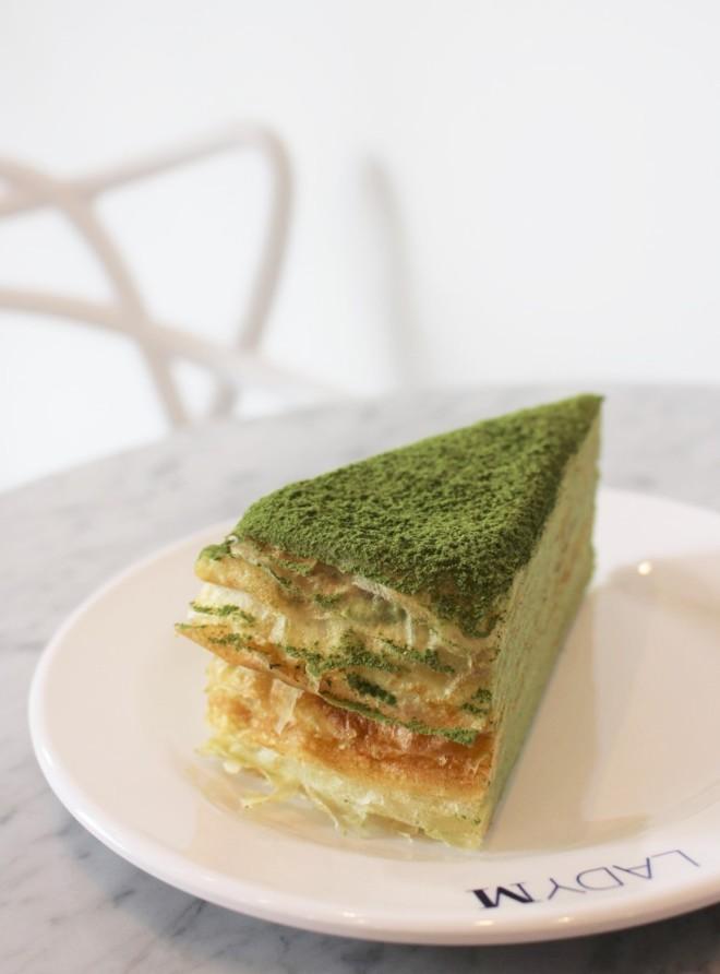 lady m green tea layers creme mille cake seoul south korea food vegan matcha gangnam