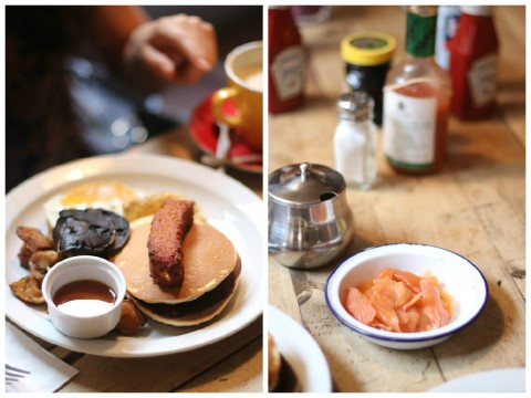 Breakfast club london Soho best sugarsheet brunch english salmon vegan healthy travel