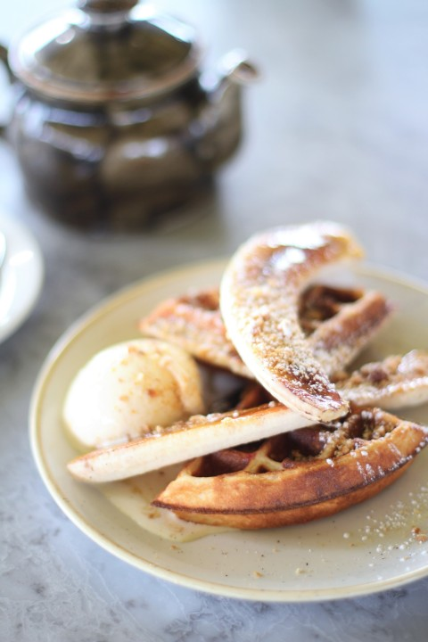 Duck and waffle best view city london sugarsheet banana vanilla nutella waffle vegan