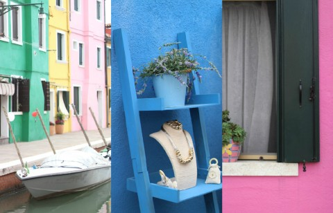 Burano island lace houses color pink blue boat river venice island vaporetto inspiration